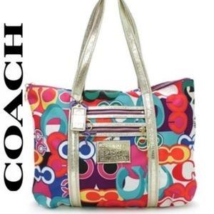 COACH Metallic Poppy Pop C Glam Multicolor Tote